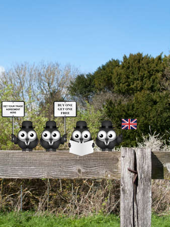 Comical United Kingdom government diplomatic trade delegation team perched on a countryside fence advertising for new worldwide trade deals post Brexit