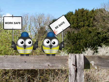 fencepost: Comical construction workers with health and safety work safe be safe message perched on a countryside fence