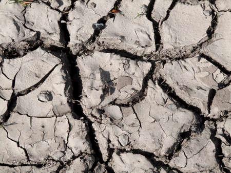 Terreno asciutto incrinato in campagna a causa della scarsità di precipitazioni Archivio Fotografico - 76518621