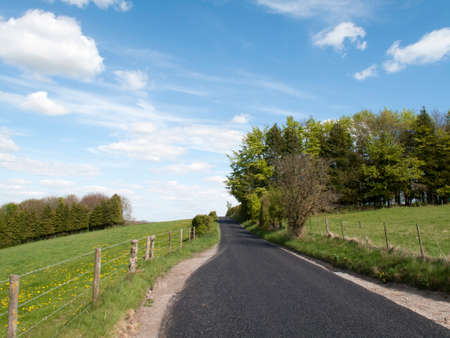grass verge: Single lane country road through countryside and farmland Stock Photo