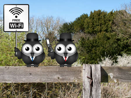 mobile telephone: Comical free WIFI sign with businessmen accessing the internet via their mobile telephone perched on a countryside fence