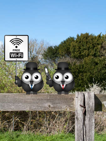 accessing: Comical free WIFI sign with businessmen accessing the internet via their mobile telephone perched on a countryside fence