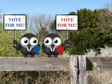 vying: Left and right wing politicians vying for your vote perched on a countryside fence