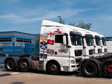 middlesex: Saints Transport parked lorries, largest privately owned airfreight haulier within the UK, company founded in 1968 Editorial