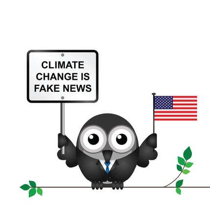 Komische Amerikaanse die klimaatwijzigingsontkenning na het terugtrekken van de Overeenkomst van Parijs op witte achtergrond wordt geïsoleerd