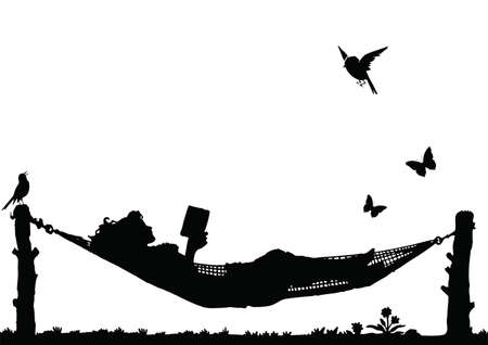 Woman Reading a book relaxing in a Hammock isolated on white background Illustration