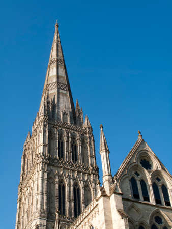 Salisbury Anglican medieval gothic Cathedral, formally known as the Cathedral Church of the Blessed Virgin Mary, built 1220 to 1258 Editorial