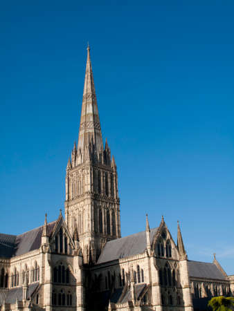 frontage: Salisbury Anglican medieval gothic Cathedral, formally known as the Cathedral Church of the Blessed Virgin Mary, built 1220 to 1258 Editorial