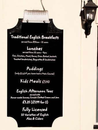 company premises: Restaurant menu mounted on wall