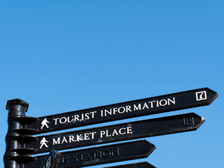 Old fashion tourist information sign for visitors to the city Editorial