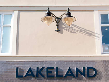 Lakeland sign over entrance to store, UK based chain of kitchenware shops, company founded by Alan Rayner in 1964 Editöryel
