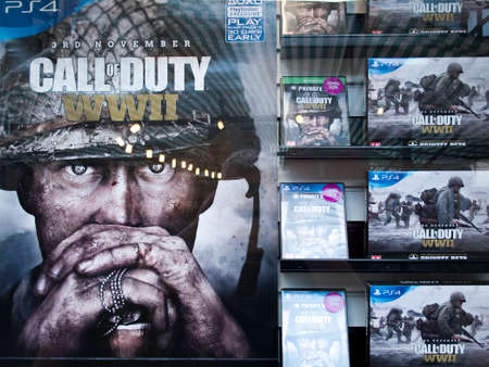 Game store window display advertising Call of Duty Editorial