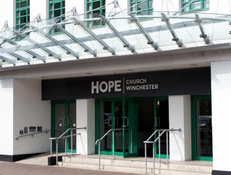 ecclesiastical: Church of England Hope church entrance located in a former Art Deco cinema Editorial
