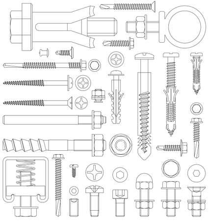 Schemat różnych zamocowań, w tym śrub, śrub, nakrętek, podkładek, nitów