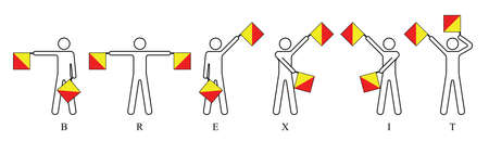 Semaphore flags spelling out Brexit, United Kingdom membership exit from the European Union resulting from the June 2016 referendum Illustration
