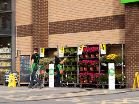 Homebase, British home improvement retailer and garden centre, company employees watering plants 報道画像