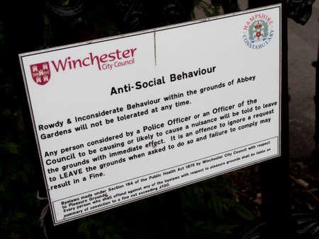 anti noise: Anti social behaviour sign on entrance to Abbey Gardens