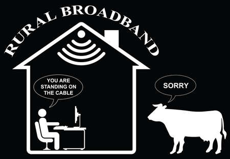 Comical representation of slow rural home broadband isolated on black background.