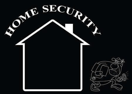 Representation of home security isolated on black background