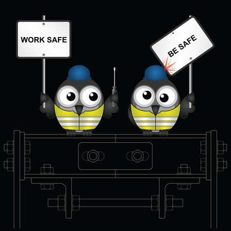 Comical construction workers with health and safety work safe be safe message perched on steelwork isolated on black background Illustration