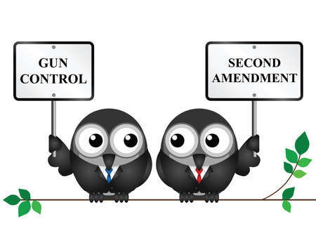 Safety concept gun control with two birds as a background