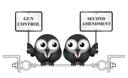 총 통제는 미국 두번째 개정 및 팔을 지키고 붙들 권리 일러스트