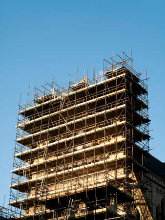 Scaffolding to restoration work to Salisbury Anglican medieval gothic Cathedral