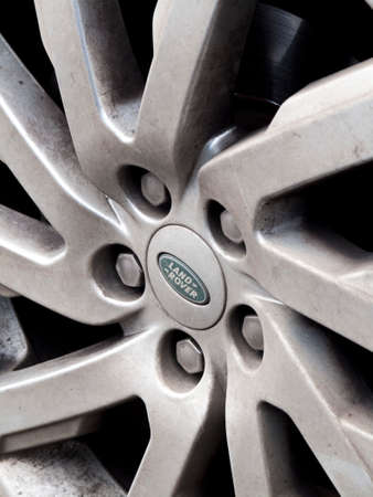 Jaguar Land Rover alloy wheel on four wheel drive vehicle, company acquired by Tata Motors in 2008