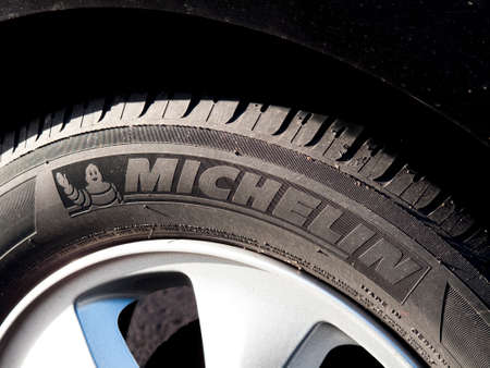 Michelin tyre on vehicle alloy wheel, French based manufacturer founded In 1889 Redakční