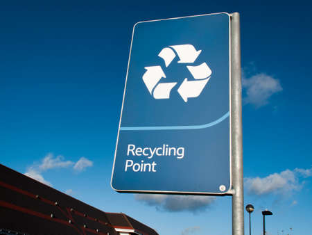 Recycling Point information sign at Tesco Extra supermarket