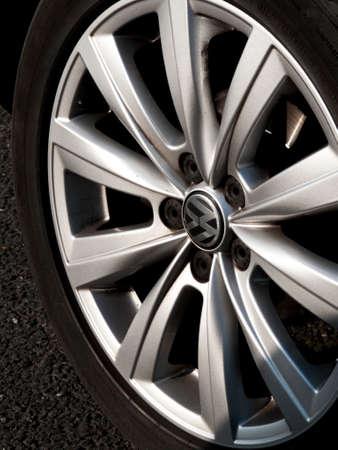 Volkswagen alloy wheel on vehicle, German based car manufacturer established in 1937
