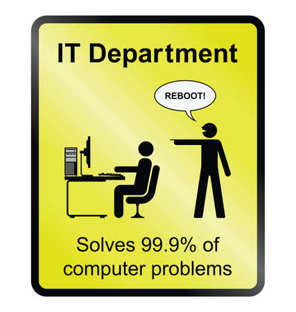 Yellow comical IT department public information sign isolated on white background
