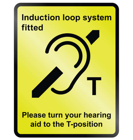 Yellow Induction loop system facility public information sign isolated on white background