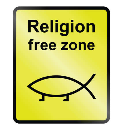 Yellow religion free zone public information sign isolated on white background Ilustração