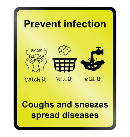 Yellow prevent infection public health information  on cough and sneezes sign isolated on white background Ilustração
