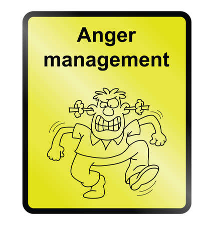 Yellow anger management public information sign isolated on yellow background.