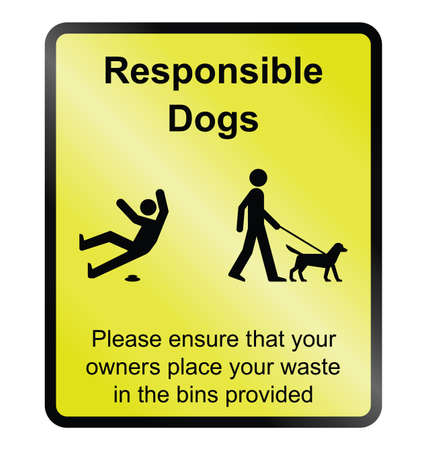 Yellow responsible dog waste public information sign isolated on white background Stock Vector - 95969364