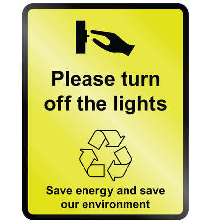 Yellow turn off lights public information sign. Stock Illustratie