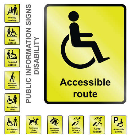 Yellow disability related public information signs isolated on white background