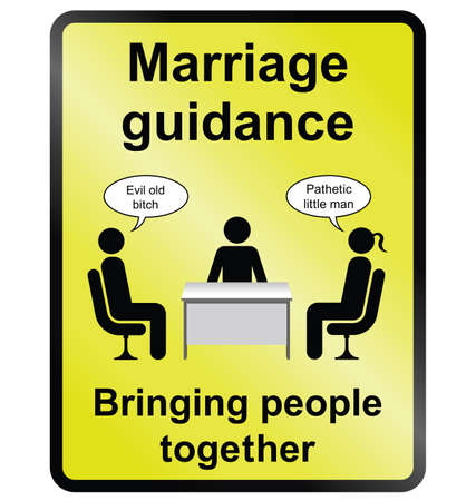 Yellow comical marriage guidance public information sign isolated on white background