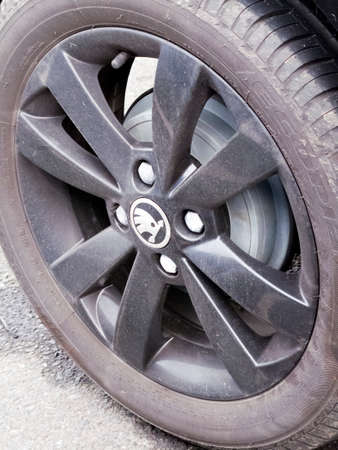 Skoda alloy wheel on four wheel drive vehicle, Czech automobile manufacturer founded in 1895 as Laurin & Klement Redakční