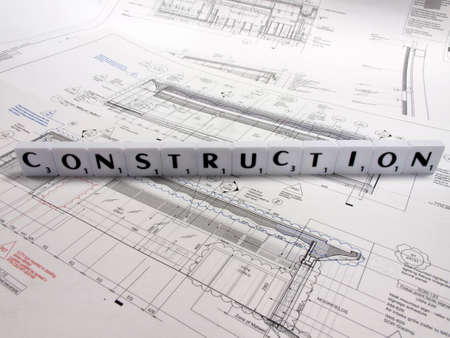 Representation of the construction industry  with technical drawing background
