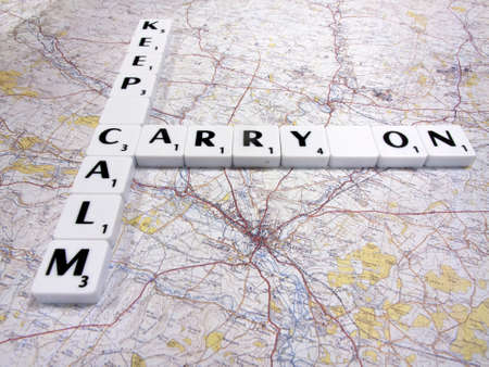 keep calm and carry on message following the Novichok nerve agent attack on the city map background