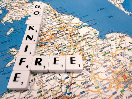 United Kingdom government Home Office Go Knife Free campaign to combat the increase in knife related crimes and deaths, with London map background