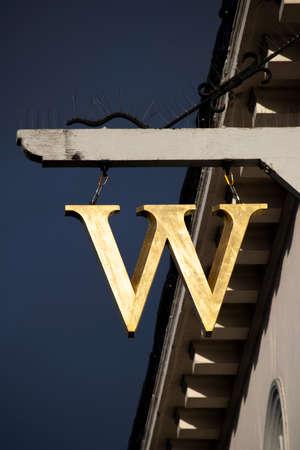 Waterstones sign above store, British book retailer established in 1982 by Tim Waterstone