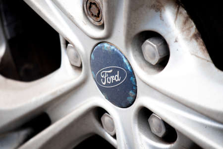 Ford Motor Company alloy wheel on car, founded by Henry Ford in 1903, headquartered in Detroit, Michigan Editorial