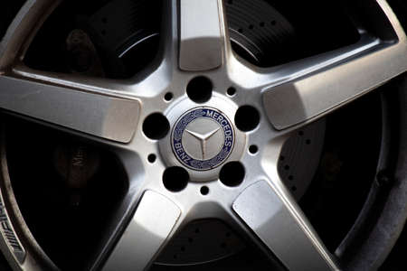 Mercedes Benz alloy wheel on car, global automobile marque and a division of the German company Daimler AG