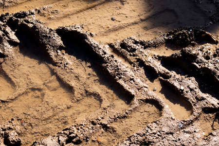 Heavy machinery tyre track impressions in mud on construction site