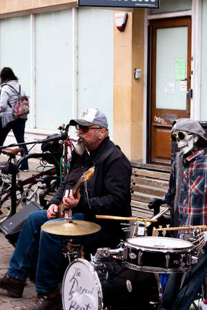 rhythm and blues The Dead Beats street entertainers with mechanical drummer entertaining the shoppers Editorial