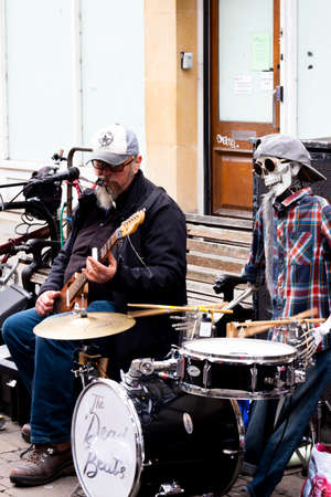 rhythm and blues The Dead Beats street entertainers with mechanical drummer entertaining the shoppers